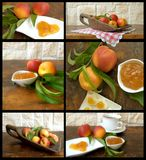 Collage with fruit and jam. With peache Royalty Free Stock Photo
