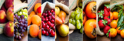 Collage fruit in jute bags Stock Photos