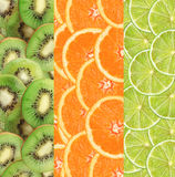 Collage with fruit of lime, kiwi and orange slices Royalty Free Stock Images