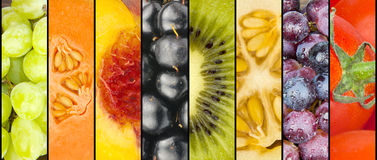 Collage of fruit in stripes Royalty Free Stock Photos