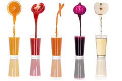 Collage of fruit and vegetable juice isolated on white Royalty Free Stock Photos