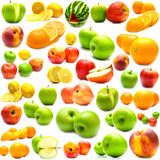 Collage from fruits. On a white background. Isolation Royalty Free Stock Photo