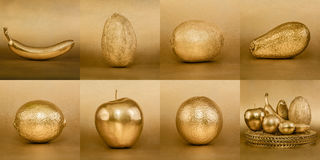Collage of fruits with golden peel on gold background Stock Image