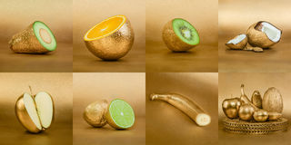 Collage of fruits with golden peel on gold background Royalty Free Stock Photos