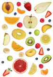 Collage of fruits like apples fruit, oranges, banana and strawbe Royalty Free Stock Images