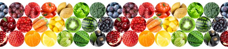 Collage of fruits and vegetables. Fresh color food royalty free stock photos