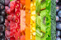 Collage with fruits and vegetables Stock Image