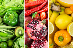 Collage of fruits and vegetables Royalty Free Stock Photos