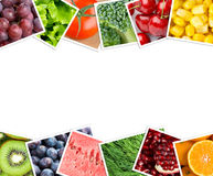Collage of fruits and vegetables photos Stock Images