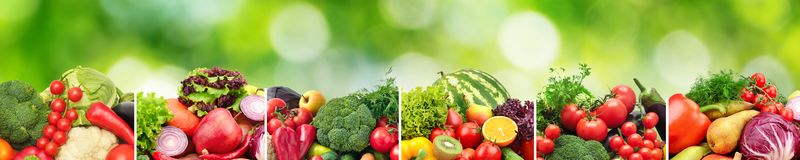 Collage fruits and vegetables separated vertical lines on natura Royalty Free Stock Images