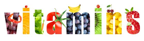 Collage of fruits and vegetables. Vitamins. Word. Food concept stock photo