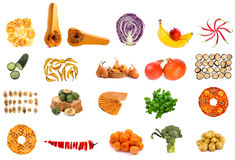 Collage from fruits and vegetables on a white Stock Image