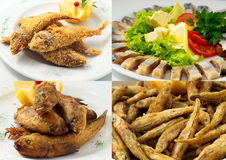 Collage of frying fish and herring Royalty Free Stock Image