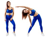 Collage of full length fitness woman standing in sportswear. Isolated on white royalty free stock photo