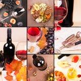 collage Fundo do alimento com vinho tinto, figos, uvas e queijo foto de stock