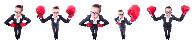 The collage of funny businesswoman on white Stock Images