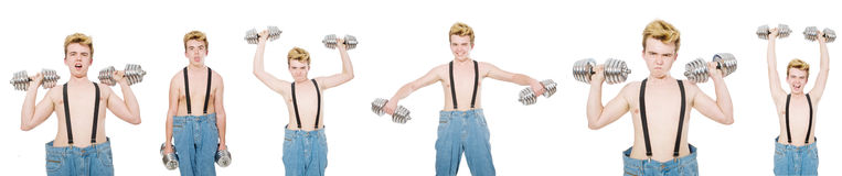 The collage of funny man with dumbbells on white Royalty Free Stock Photo