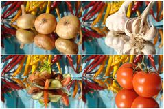 Collage with garlic, onion Royalty Free Stock Image