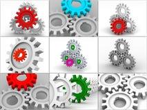 collage gears symboler Arkivfoton