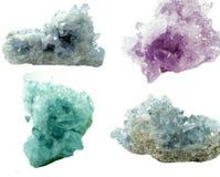 Collage geologico dei cristalli di geode del Celestite immagini stock