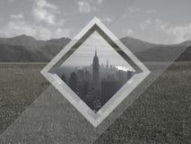Collage geométrico Paisaje de la ciudad y de la montaña fotografía de archivo
