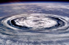 Collage of a giant hurricane funnel. stock photos
