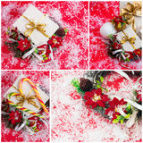 Collage. Gift boxes with ribbon and wreath with poinsettia flowe Royalty Free Stock Photography