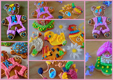 Collage gingerbread. Gingerbread color collage on a pink background Royalty Free Stock Images