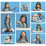 Collage girl and emotions Royalty Free Stock Photography