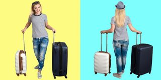 A woman with suitcases goes on a travel. royalty free stock photography