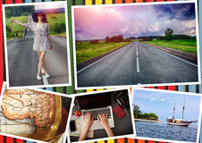 Collage with girl and travel theme Royalty Free Stock Photography