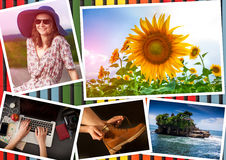 Collage with girl and travel theme Stock Images
