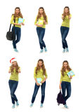 A collage of girls in casual clothes on a white background Royalty Free Stock Images