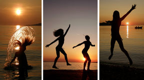 Collage-girls dancing and jumping in the sunset stock photos