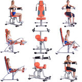 Collage of girls exercising on modern simulators Royalty Free Stock Photo