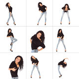 Collage of Glamorous young woman in black jacket and jeans Stock Image