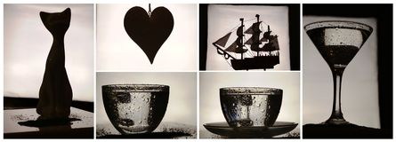 Collage with glass, cat, hearth, sailboat Stock Images