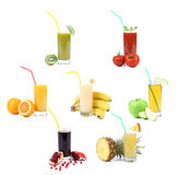 Collage. Glasses of juice. Different fruit Royalty Free Stock Photography