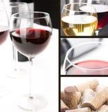 Collage - Glazen wijn Stock Afbeelding