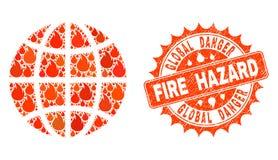 Collage of Globe Burning and Fire Hazard Grunge Stamp Seal royalty free illustration