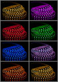 Collage of glowing LED garland Royalty Free Stock Images