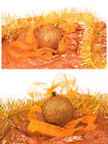 Collage the golg new year ball. On the gold background Stock Photos