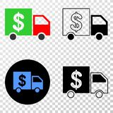 Collage of Gradiented Dotted Banking Delivery and Grunged Stamp. Geographic composition of dotted banking delivery and grunge stamp. Mosaic vector banking stock illustration