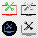 Collage of Gradiented Dotted Desktop Tools and Grunged Stamp vector illustration