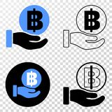 Collage of Gradiented Dotted Hand Offer Bitcoin and Grunged Stamp royalty free illustration