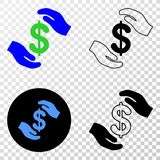 Collage of Gradiented Dotted Hands Care Dollar and Grunged Stamp. Geographic combination of dotted hands care dollar and grunge seal. Mosaic vector hands care stock illustration