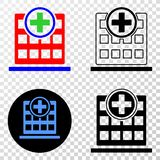Collage of Gradiented Dotted Hospital Building and Grunged Stamp. Geographic composition of dotted hospital building and grunge seal stamp. Mosaic vector royalty free illustration