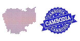 Collage of Gradiented Dotted Map of Cambodia and Grunged Stamp vector illustration