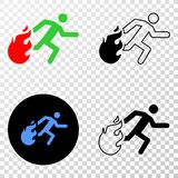 Collage of Gradiented Dotted Person Running Away from Fire and Grunged Stamp. Geographic collage of dotted person running away from fire and grunge stamp. Mosaic stock illustration