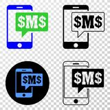 Collage of Gradiented Dotted Phone Sms Cloud and Grunged Stamp vector illustration